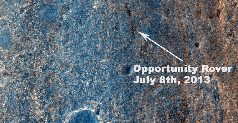 Color View From Orbit Showing Opportunity in 'Botany Bay' (Annotated)