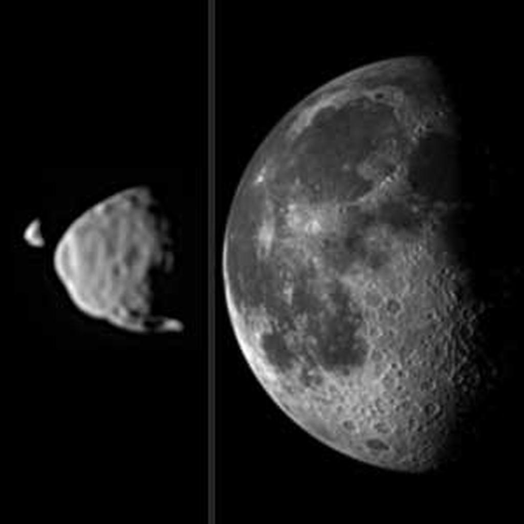 This illustration provides a comparison for how big the moons of Mars appear to be, as seen from the surface of Mars, in relation to the size that Earth's moon appears to be when seen from the surface of Earth.