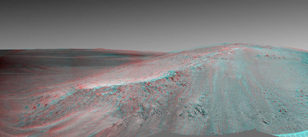"This stereo view shows the ""Murray Ridge"" portion of the western rim of Endeavour Crater on Mars."
