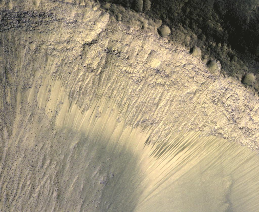 These images from the High Resolution Imaging Science Experiment (HiRISE) camera on NASA's Mars Reconnaissance Orbiter show how the appearance of dark markings on Martian slope changes with the seasons.