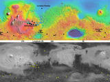 This pair of maps indicates locations of confirmed sites of recurrent slope linea on Mars, with respect to elevation (upper map) and surface brightness, or albedo (lower map).