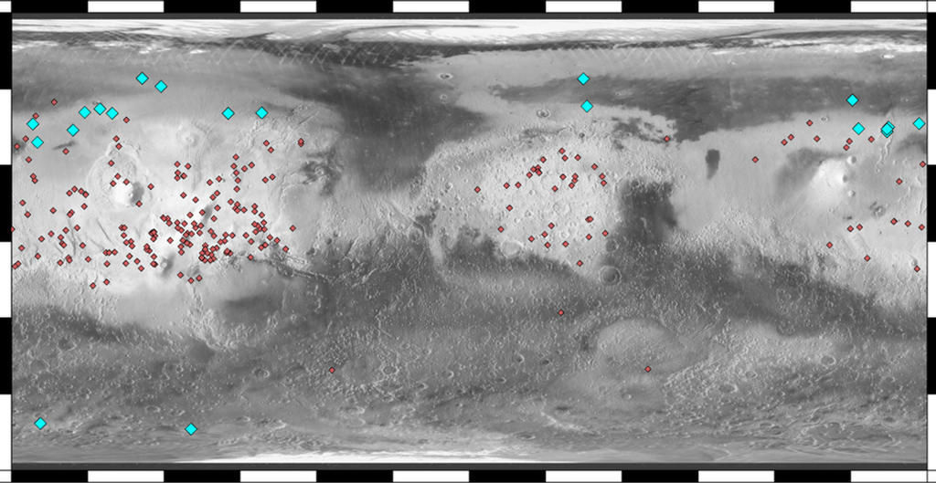 This map of Mars indicates locations of new craters that have excavated ice (blue) and those that have not (red). The underlying map is based on the brightness, or albedo, of the Martian surface.