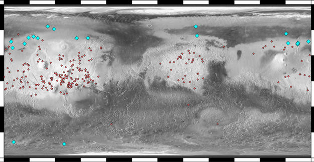Locations of Ice-Exposing Fresh Craters on Mars