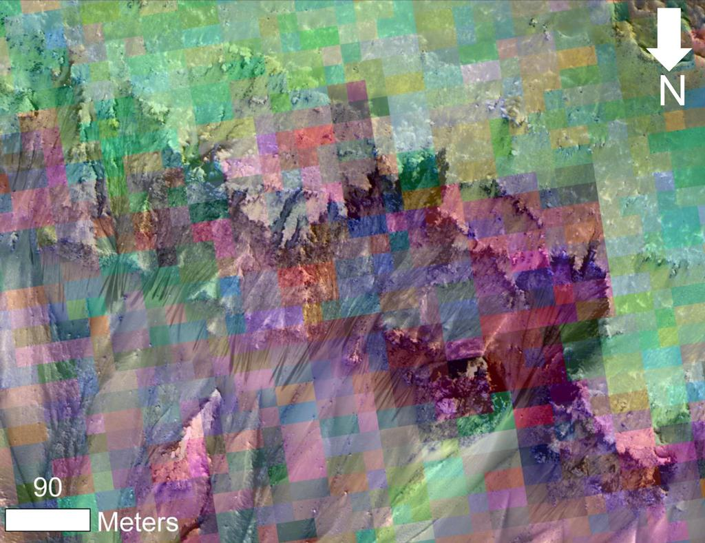 This image combines a photograph of seasonal dark flows on a Martian slope with a grid of colors based on data collected by a mineral-mapping spectrometer observing the same area.
