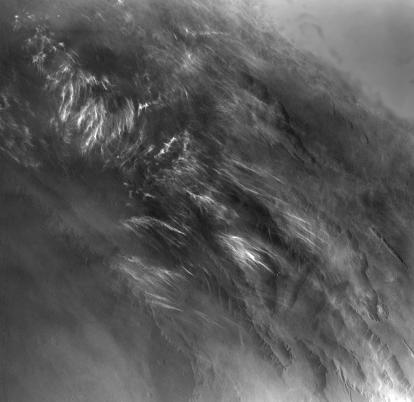Martian Morning Clouds Seen by Viking Orbiter 1 in 1976