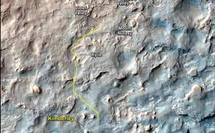 see the image 'Map of Recent and Planned Driving by Curiosity as of Feb. 18, 2014'