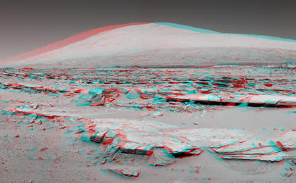 see the image 'Martian Landscape With Rock Rows and Mount Sharp (Stereo)'
