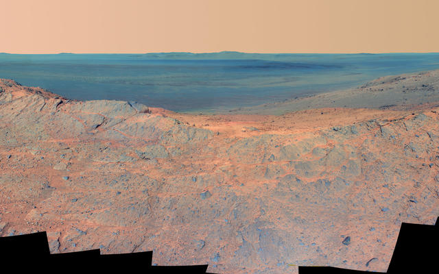 'Pillinger Point' Overlooking Endeavour Crater on Mars (False Color)
