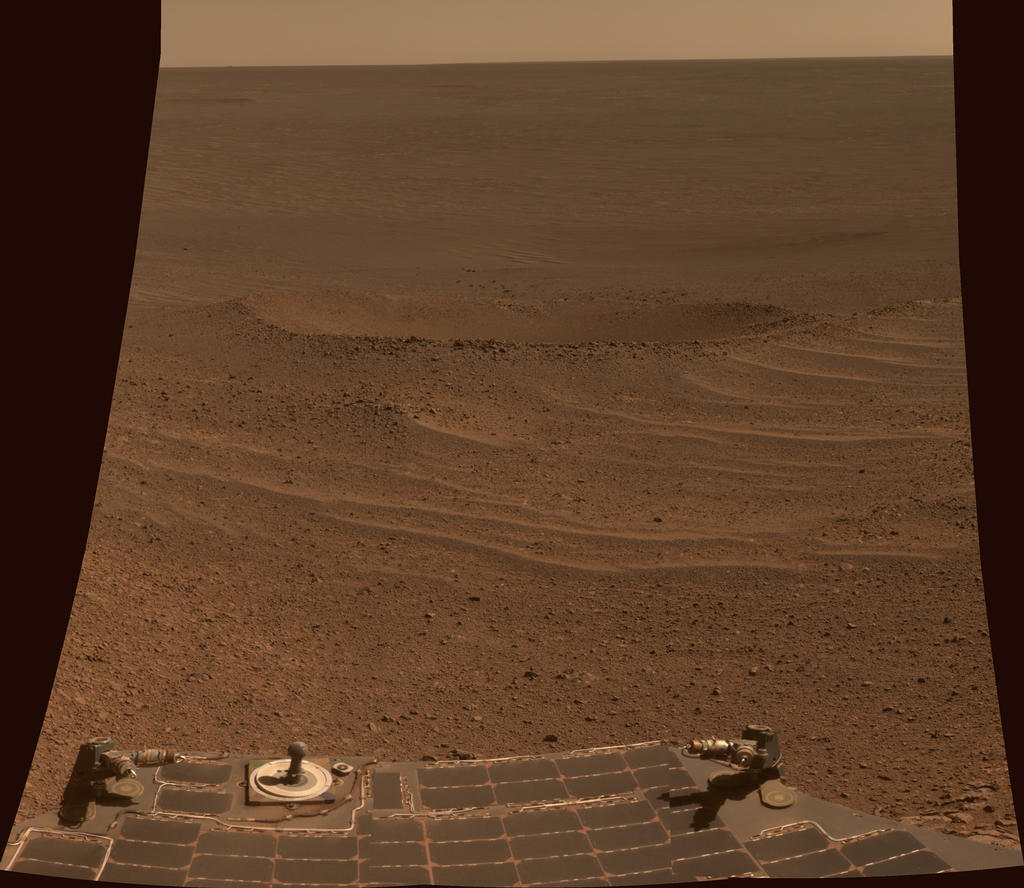 "This scene from NASA's Mars Exploration Rover Opportunity shows ""Lunokhod 2 Crater,"" which lies south of ""Solander Point"" on the west rim of Endeavour Crater."