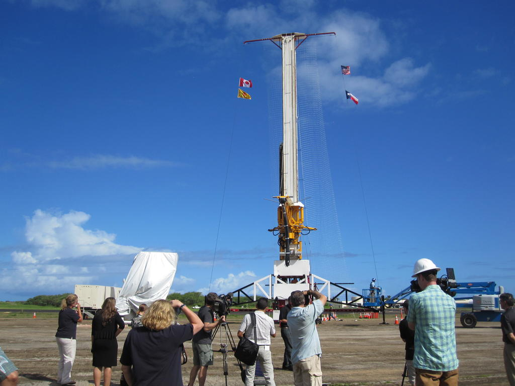 This image shows the tower from which the test vehicle for NASA's Low-Density Supersonic Decelerator (LDSD) will hang before a balloon lifts it to high altitudes.