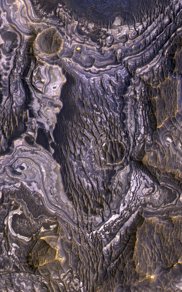 bright layered deposits on a plateau near Juventae Chasma in the Valles Marineris region of Mars
