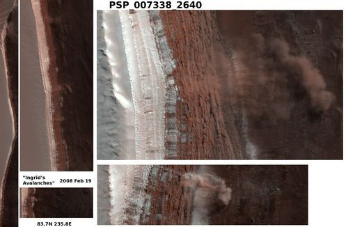 Caught in Action: This image shows avalanches on North Polar Scarps.