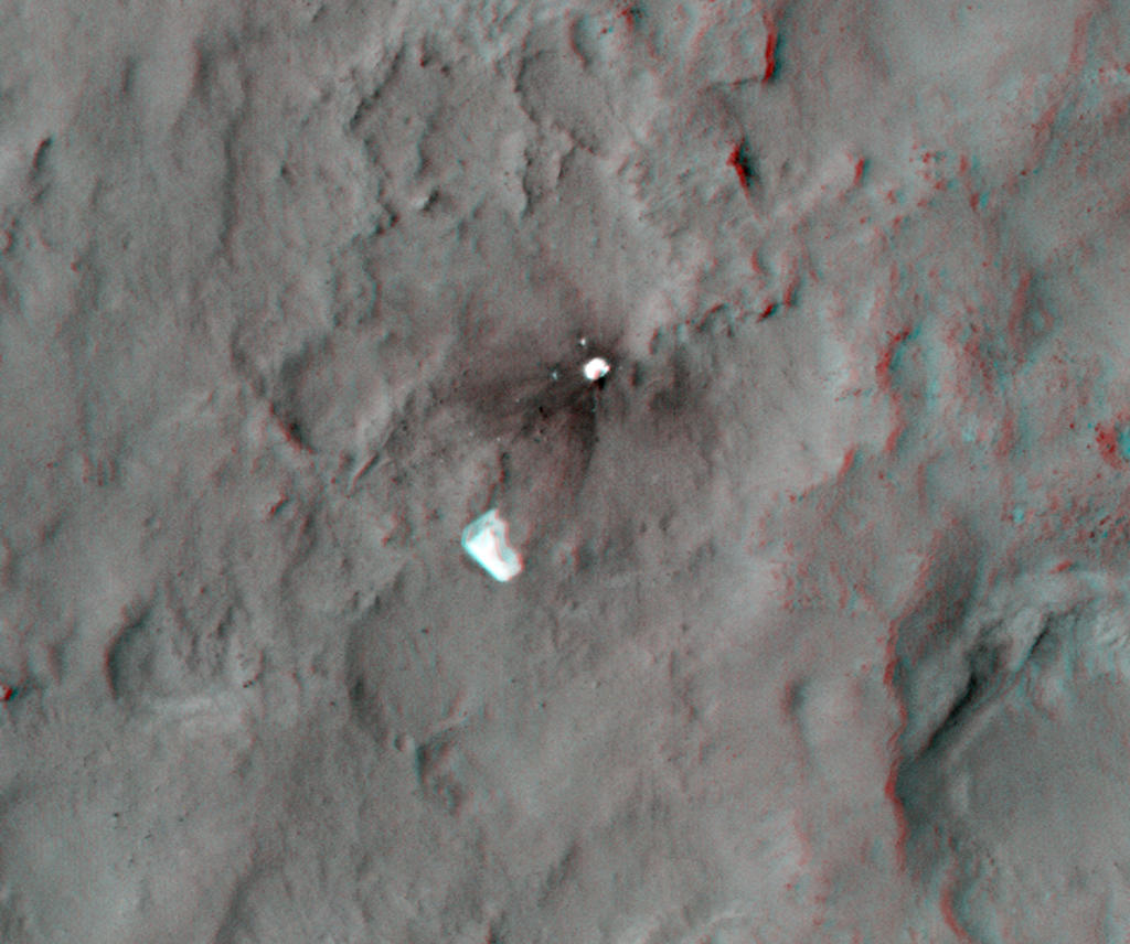 This 3D, or stereo anaglyph, view shows the parachute and back shell that helped guide NASA's Curiosity to the surface of Mars.