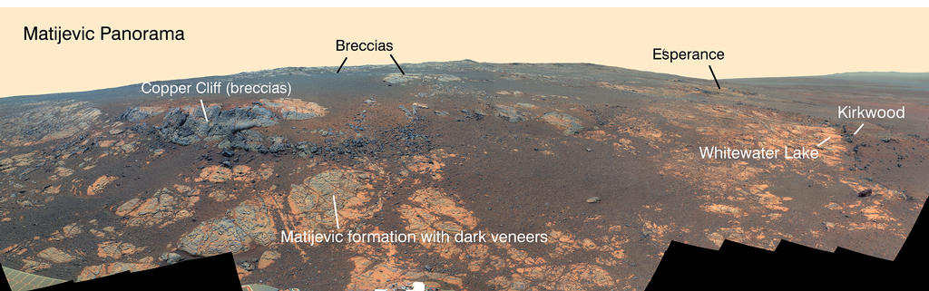 "NASA's Mars Exploration Rover Opportunity used its panoramic camera (Pancam) to capture this false-color panorama of the ""Matijevic Hill"" area on the ""Cape York"" segment of the western rim of Endeavour Crater."
