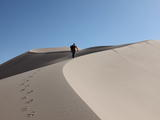 mars rover, desert, dune, test, Scarecrow - Scientist Rob Sullivan hikes up the side of a giant dune, leaving a long trail of footprints in the sand.