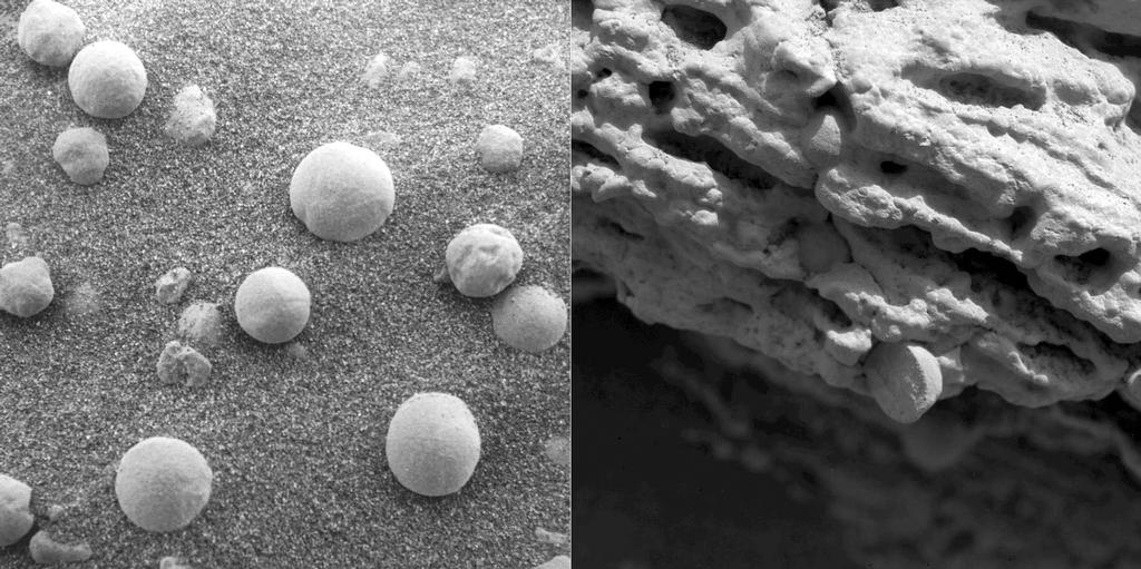 The left image shows an extreme close-up of round, blueberry-shaped formations in the martian soil near a part of the rock outcrop at Meridiani Planum called Stone Mountain.