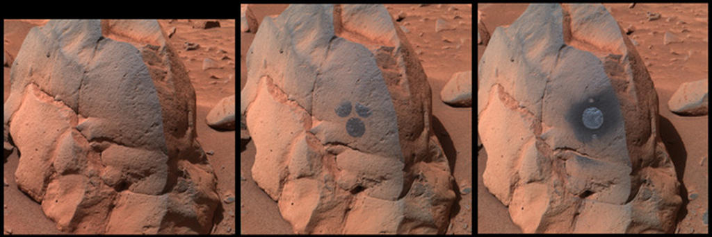"This image shows the rock dubbed ""Humphrey"" and the circular areas on the rock that were wiped off by the rover."