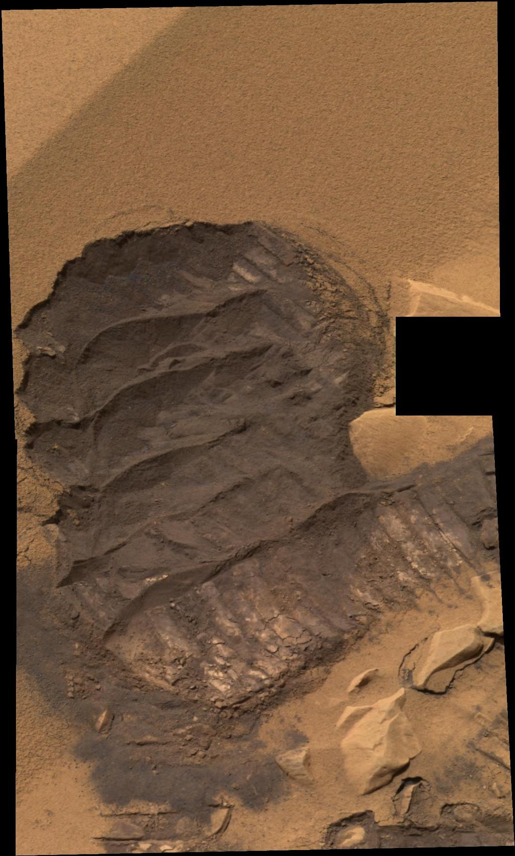 "This is a ""scuff"" mark or rover ""boot print"" in the Gusev Crater location dubbed ""Serpent."""