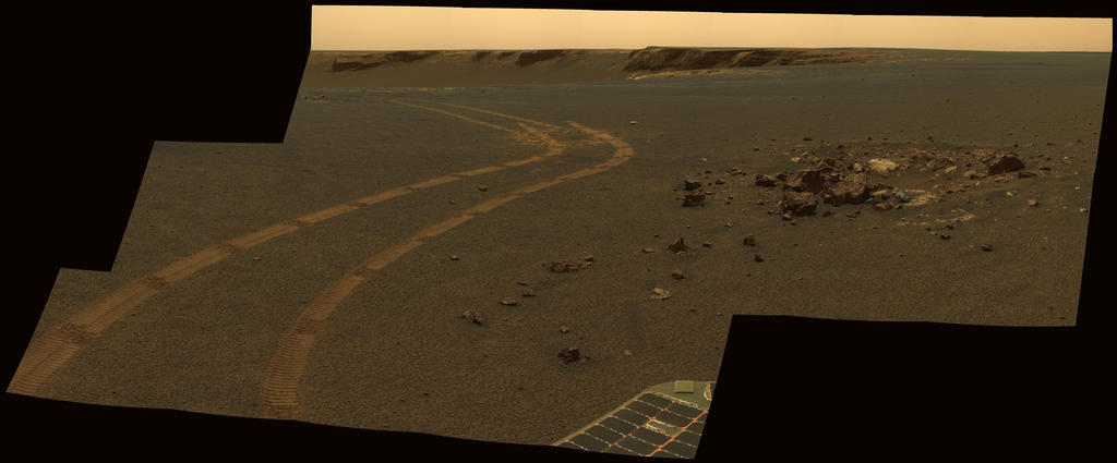 NASA's twin Mars Exploration Rovers got smarter as they got older. This view from Opportunity shows the tracks left by a drive executed with more onboard autonomy than has been used on any other drive by a Mars rover.