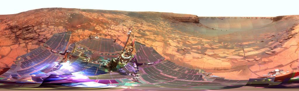 """Durante quatro meses antes do quarto aniversário da sua aterragem em Marte, Opportunity examinou rochas dentro de um nicho chamado de """"Duck Bay"""" na porção ocidental da cratera Victoria."""