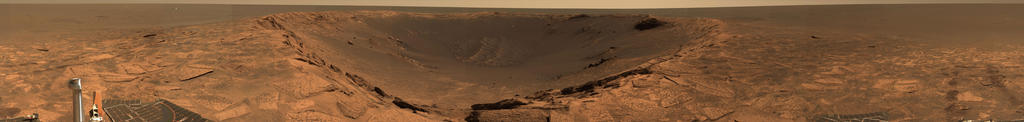 "This 360-degree panorama shows ""Endurance Crater"" and the surrounding plains of Meridiani Planum."