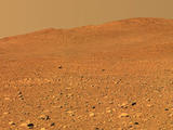 "This image from the panoramic camera on NASA's Mars Exploration Rover Spirit shows a forward-looking view of a portion of the ""Columbia Hills."""