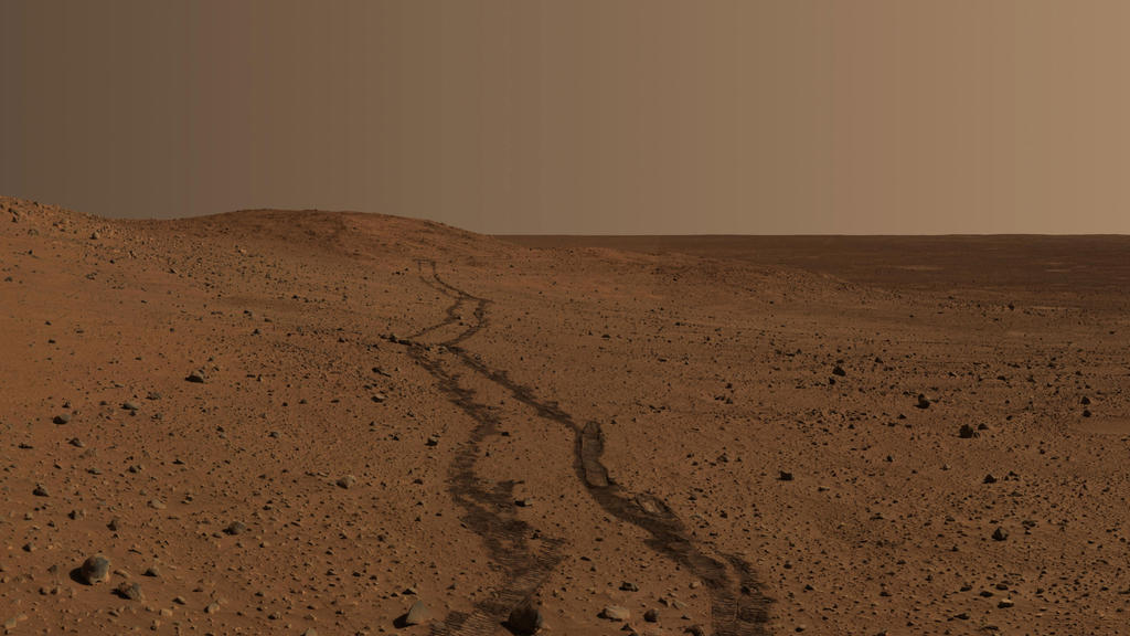 "NASA's Mars Exploration Rover Spirit took this image of the region near ""Husband Hill."""