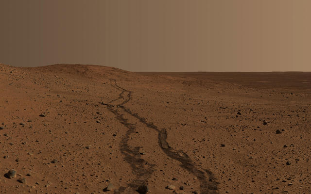 Rover Tracks Near 'Husband Hill'
