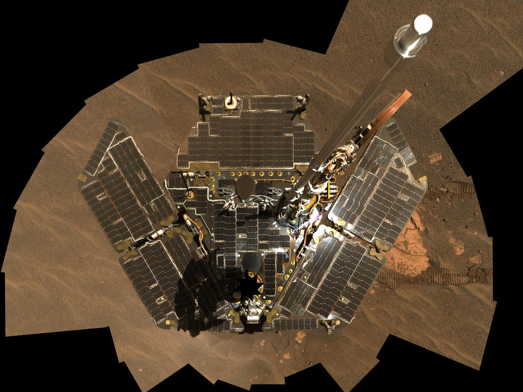 Opportunity used its panoramic camera to take the images combined into this mosaic view of the rover.