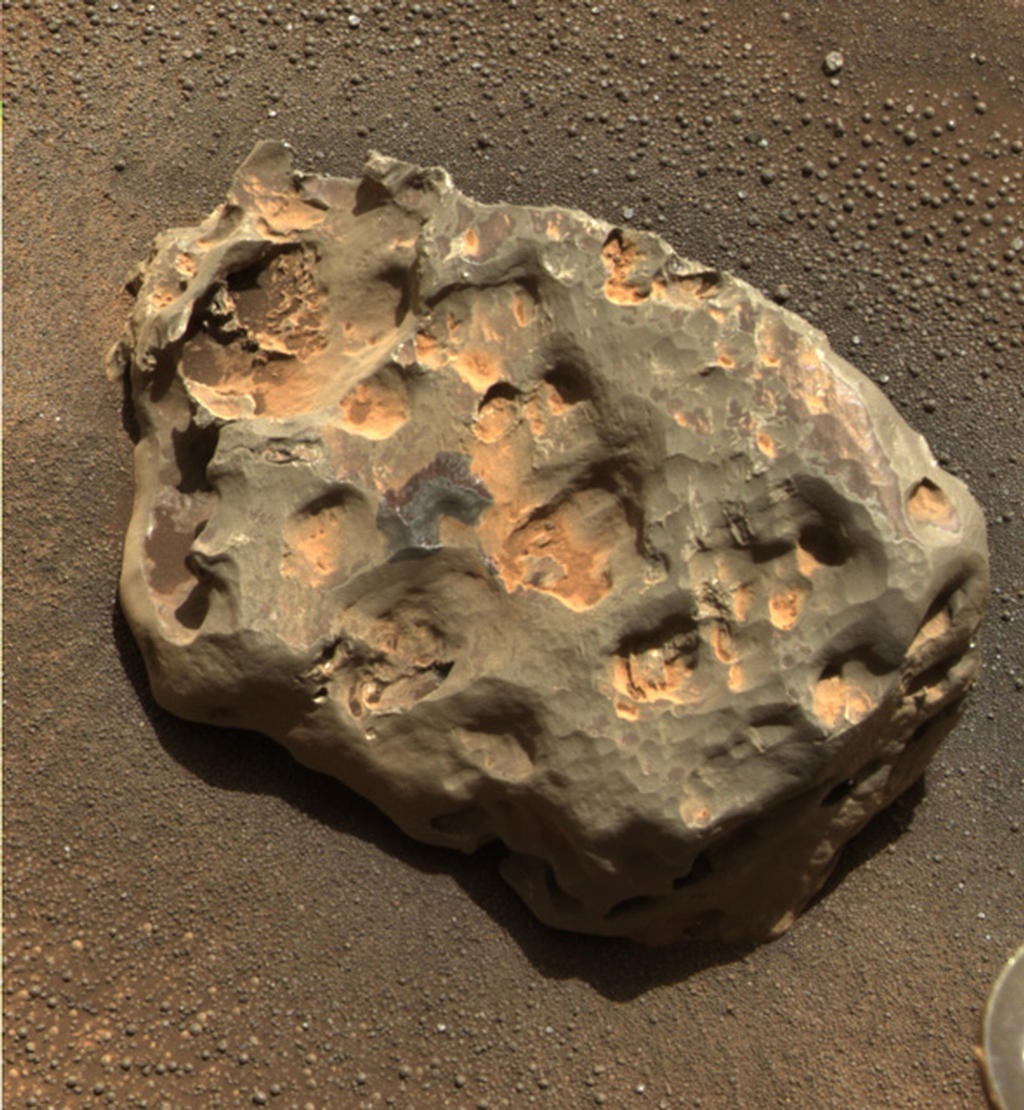 Opportunity found an iron meteorite on Mars, the first meteorite of any type ever identified on another planet.