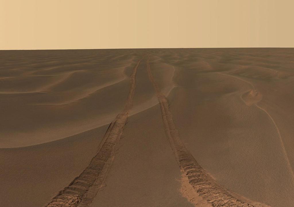 """Esta imagem panorâmica, apelidado de """"Rub al Khali,"""" foi feita pelo Opportunity nas planícies de Meridiani durante o rover 456 a sóis 464th em Marte."""