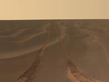 "This panoramic image, dubbed ""Rub al Khali,"" was taken by Opportunity on the plains of Meridiani during the rover's 456th to 464th sols on Mars."