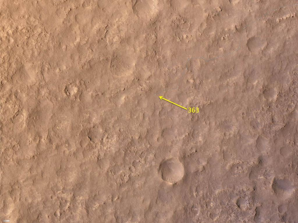 This map shows the route driven by NASA's Mars rover Curiosity through the 363 Martian day, or sol, of the rover's mission on Mars (August 14, 2013).