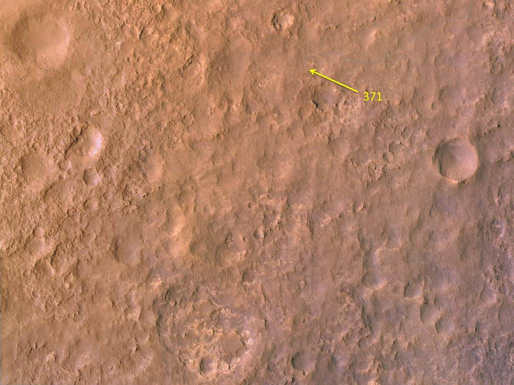 This map shows the route driven by NASA's Mars rover Curiosity through the 371 Martian day, or sol, of the rover's mission on Mars (August 22, 2013).