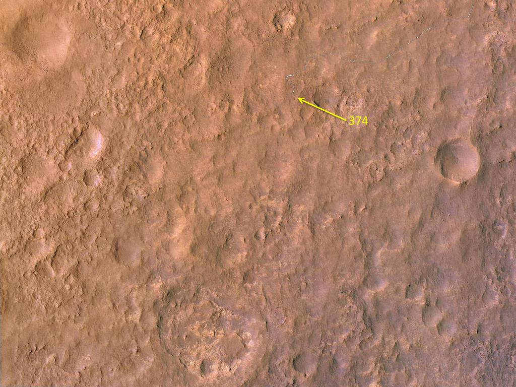 This map shows the route driven by NASA's Mars rover Curiosity through the 374 Martian day, or sol, of the rover's mission on Mars (August 25, 2103).