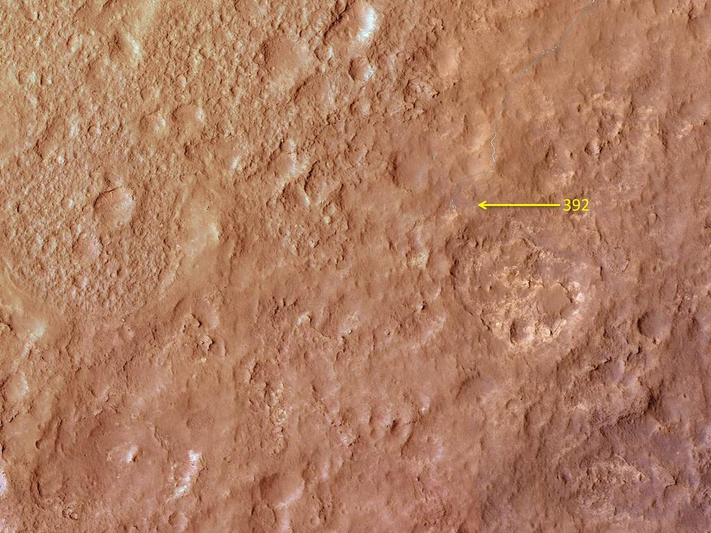 This map shows the route driven by NASA's Mars rover Curiosity through the 392 Martian day, or sol, of the rover's mission on Mars (September 13, 2013).