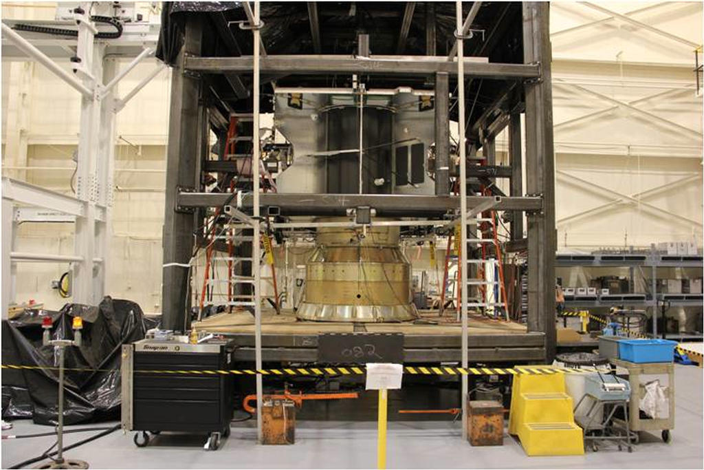 The MAVEN spacecraft structure is placed into a reaction chamber, where it completed a static loads test to ensure that it will withstand the extreme forces of launch.