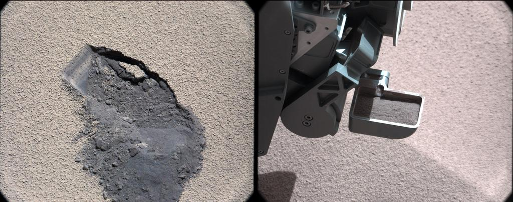 "This pair of images shows a ""bite mark"" where NASA's Curiosity rover scooped up some Martian soil (left), and the scoop carrying soil."