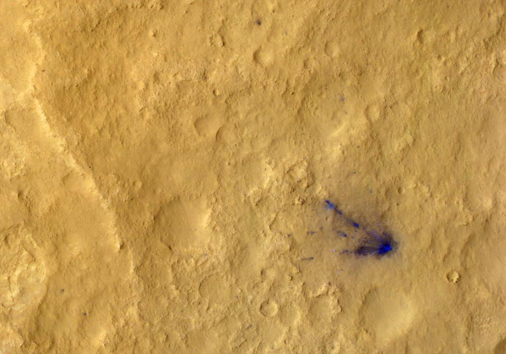 After a rocket-powered descent stage, also known as the sky crane, delivered NASA's Curiosity rover to Mars on Aug. 5 PDT (Aug. 6 EDT), 2012, it flew away and fell to the surface.