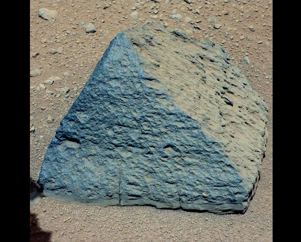 "This image shows where NASA's Curiosity rover aimed two different instruments to study a pyramid-shaped rock known as ""Jake Matijevic."""