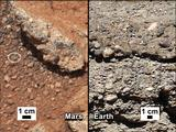 This set of images compares the Link outcrop of rocks on Mars (left) with similar rocks seen on Earth (right).