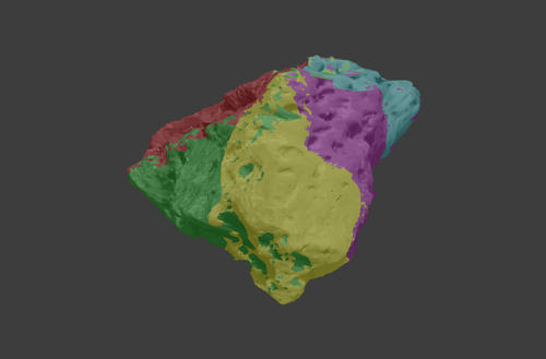 This digital color map shows five of the 11 sections of the meteorite 3D model..