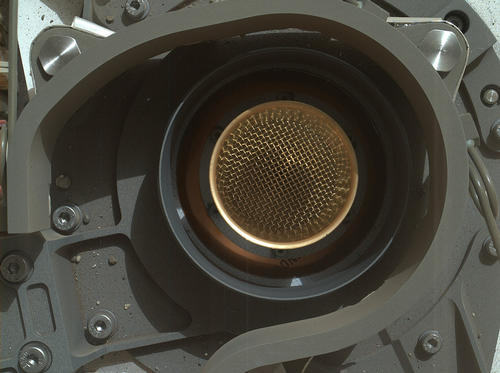 This image from NASA's Curiosity rover shows the open inlet where powered rock and soil samples will be funneled down for analysis.
