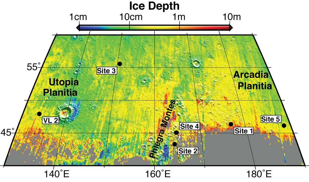 Expected Depths to Ice, Mid-Latitude Northern Mars