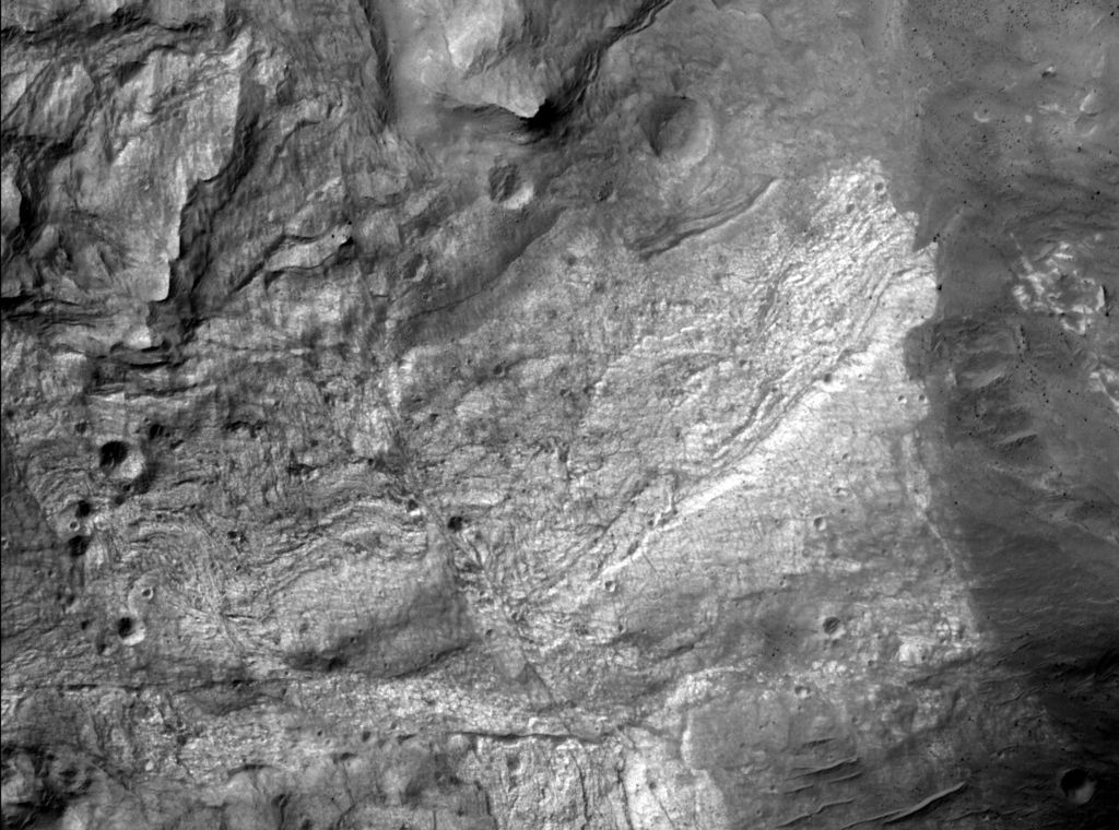 First image from the high resolution camera on the Mars Reconnaissance Orbiter