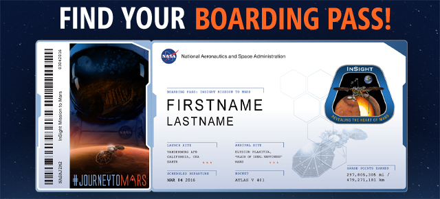 If you sent your name on the InSight Mars lander. Find your boarding pass here!