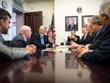 Dr. John Holdren, Director of the Office of Science and Technology Policy, 3rd from left, meets with members of the NASA Mars Science Laboratory team on Thursday, Aug. 1, 2013, at the Eisenhower Executive Office Building in Washington.