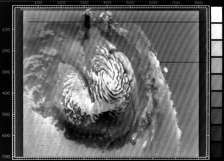 A 1972-era TV image of Mars' north polar cap.
