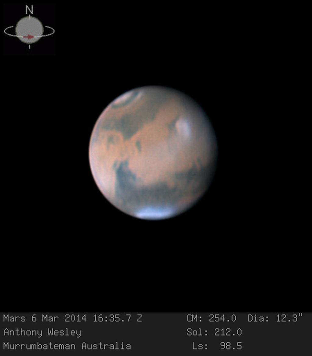 Mars, photographed on March 6, 2014, by Australian amateur astronomer Anthony Wesley using a 16-inch telescope