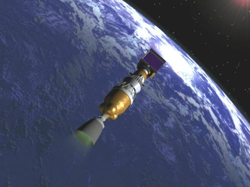 Mars Odyssey Prior to Second Stage Engine Cutoff (SECO)